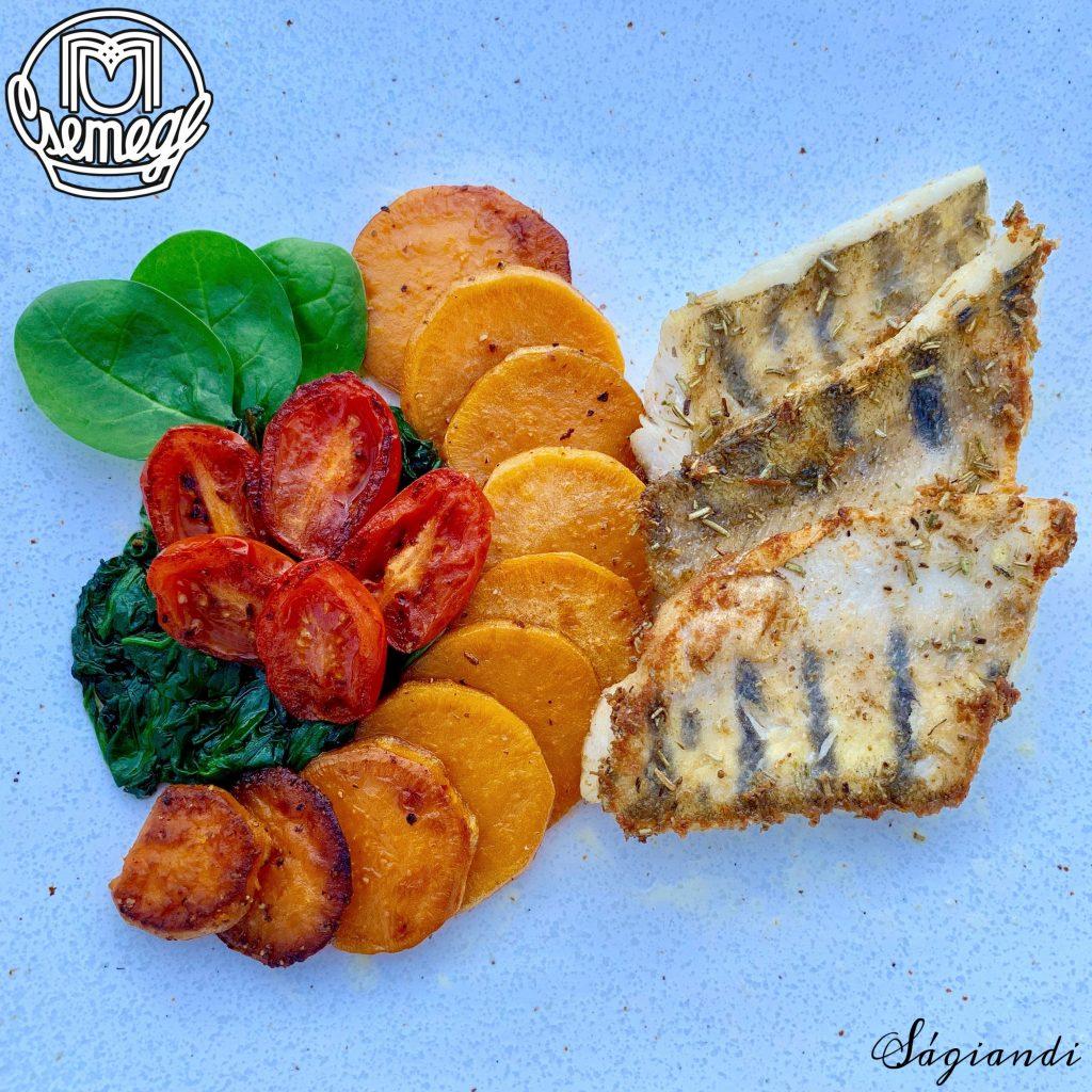 tengeri halfilé grillezett zöldségekkel